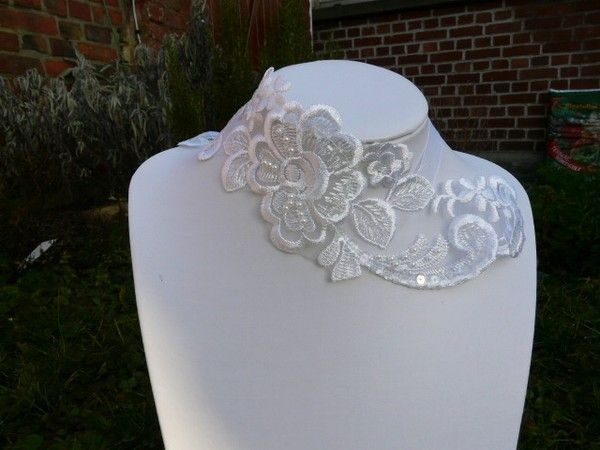 collier mariage guipure blanche - Gupire Mariage