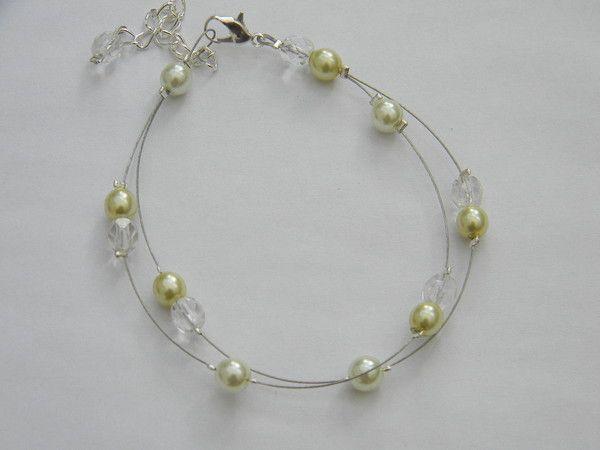 collier perle vert anis