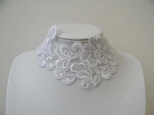 collier mariage guipure blanche strass - Gupire Mariage